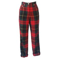 1980s Moschino iconic eighties jeans SeNeImporta (Who cares) tartan high waisted