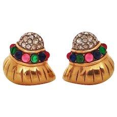 1980s Nina Ricci clip seashell earrings with cabochon stones
