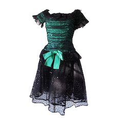 1980s Peter Keppler couture Green black dress