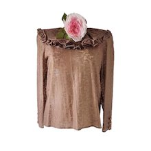 1980s Red Valentino by Valentino brown shirt with pink flower NWT