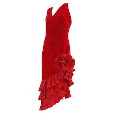 1980s Red Velvet Memi Dress