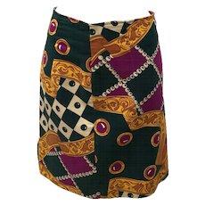 1980s Roccobarocco Vintage Multicoloured Cotton Skirt