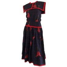 1980s Valentino Blu Red linen Dress