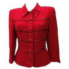 1980s Valentino Miss V. Red Wool Jacket