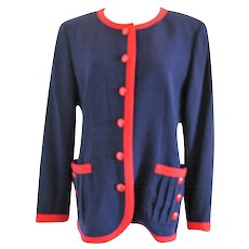 1980s Valentino Roma Red and Blue Sweater