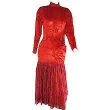 1985 Alberta Ferretti Red Velvet Voland Skirt Long Dress