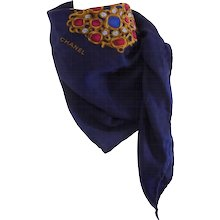 1990s Chanel Multicolour Jewel Foulard Scarf