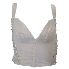 1990s Dolce & Gabbana White crystal swarovski corset