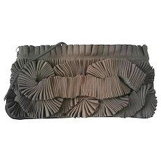1990s Hoss Vintage dove grey clutch or shoulder bag