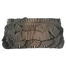 1990s Hoss Vintage dove grey clutch or shoulder bag