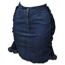 1990s Iconic Moschino Faux-Cul denim Mini Skirt