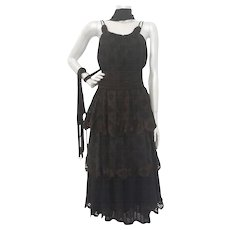 2000s Antonio Berardi black dress with fringes NWOT