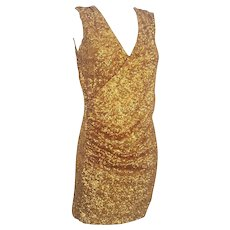 2000s Halston Heritage gold sequins embelisshed dress