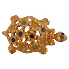 Avon Gold tone Turtle Brooch