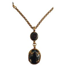 1995 Chanel Gold tone Black Stone Necklace