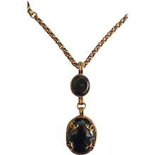 1995 Chanel Gold tone Black Stone Necklace