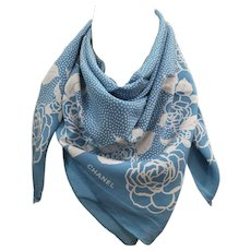 Chanel light blu white flower Camelia Silk Foulard