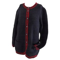 Fendi Grey Red horoscope cardigan sweater
