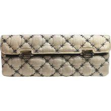 Fendi white sequins clutch