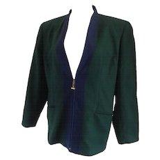 Forma Zero by Gianfranco Ferre Green Blu Wool Sweater with gold tone hardware