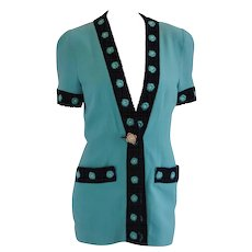 Gai Mattiolo Couture Tiffany Green Blu Beads Jacket
