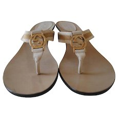 Gucci Cream GG Gold Logo Sandals