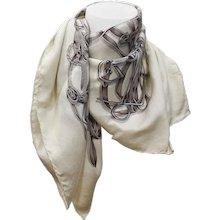 Gucci White Grey Silk Foulard