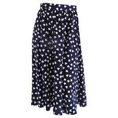 Long Blu white hearts Skirt