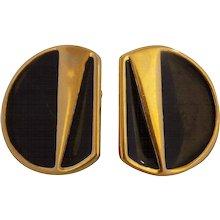 Monet Gold Black Tone Earrings