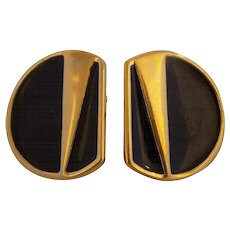 Monet Gold Black Tone Earrings