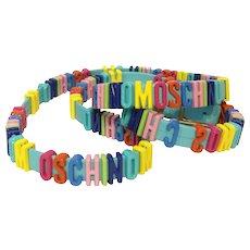 Moschino NWOT Logo light blu Belt