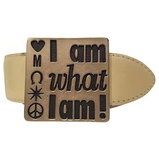 "Moschino ""I am what I am"" cream leather belt NWOT"