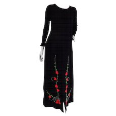 R-Jay Long Black Wool Dress