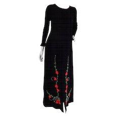 R-Jay Long Black Wool Dress