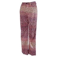 Roberto Cavalli Pink Flower Cotton Jeans