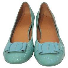 Salvatore Ferragamo Light blue varnish leather ballerina