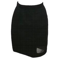 Thierry Mugler Activ Linen Black Skirt with Net