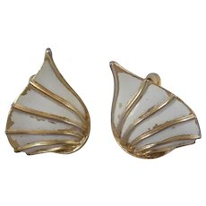 Trifari Gold and white tone Clipon earrings