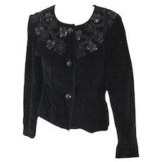 Unknown Black Velvet Flower Sequins Jacket