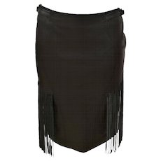 Versace Jeans Couture Dark Brown Leather Skirt with Fringes