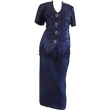 1990s Gai Mattiolo Couture Blu Sequins Suit Tailleur Embellished bottons