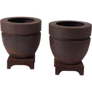 Pair of Cast Iron Modernist Planters on Stands