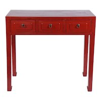 """Chinese"" Red Three-Drawer Console"