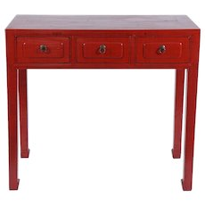"""""""Chinese"""" Red Three-Drawer Console"""