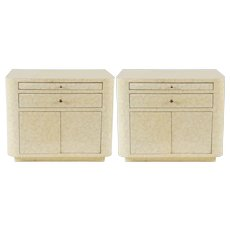 "Pair of Lacquered ""Eggshell"" Bedside Cabinets, circa 1975"