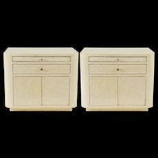 """Pair of Lacquered """"Eggshell"""" Bedside Cabinets, circa 1975"""