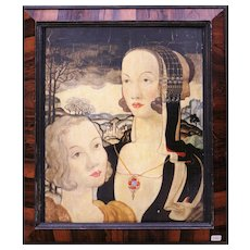 Original 'Two Heads' surrealist Oil on Panel by John Dixon, 1938