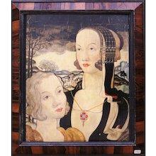 Original 'Two Heads' surrealist Oil on Panel by John Dixon, 1938