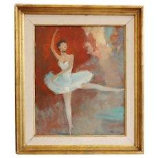 Jean-Gabriel Domergue — 'La danseuse', Oil on panel, 1950s