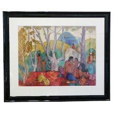 """André Maire — """"Après-midi chez les Möis"""", watercolor, Circa 1949"""